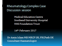 Rheumatology Complex  C ase Discussion session