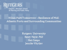NOAA  Port Tomorrow –Resilience of Mid-Atlantic Ports and Surrounding