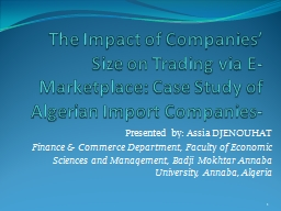 The Impact of Companies' Size on Trading via E-Marketplace: Case Study of Algerian Import Compani
