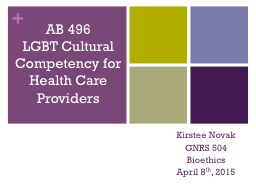 AB 496 LGBT Cultural Competency for Health Care Providers