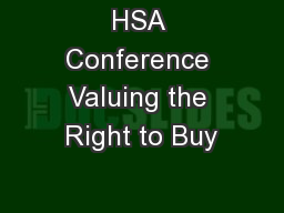 HSA Conference Valuing the Right to Buy