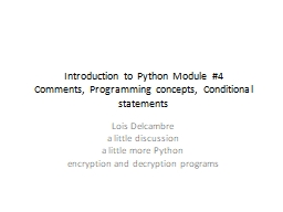 Introduction to Python Module #4