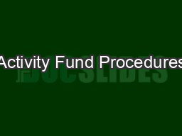 Activity Fund Procedures