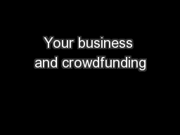 Your business and crowdfunding