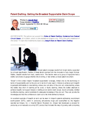 Patent Drafting Getting the Broadest Supportable Claim