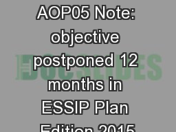 Objective  AOP05 Note: objective postponed 12 months in ESSIP Plan Edition 2015