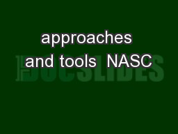 approaches and tools  NASC