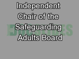 Independent Chair of the Safeguarding Adults Board