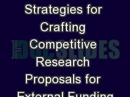 Effective Strategies for Crafting Competitive Research Proposals for External Funding
