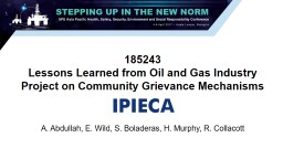 185243 Lessons Learned from Oil and Gas Industry Project on Community Grievance Mechanisms