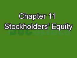 Chapter 11 Stockholders� Equity