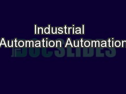 Industrial  Automation Automation