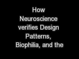 How Neuroscience verifies Design Patterns, Biophilia, and the
