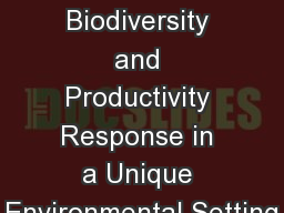 Rewilding: Floral Biodiversity and Productivity Response in a Unique Environmental Setting