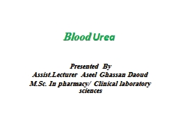 Blood  Urea Presented By