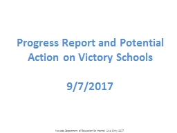 Progress Report and Potential Action on Victory Schools