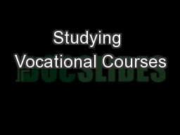 Studying Vocational Courses