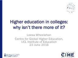 Higher education in colleges: why isn't there more of it?