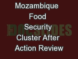 Mozambique  Food Security Cluster After Action Review