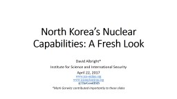 North Korea's Nuclear Capabilities: A Fresh Look