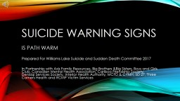 Suicide warning signs IS PATH