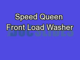 Speed Queen Front Load Washer