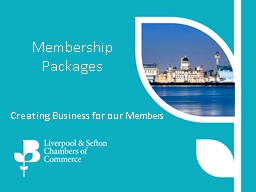 Membership Packages Creating Business for our Members