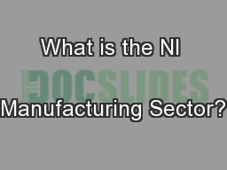 What is the NI  Manufacturing Sector? PowerPoint PPT Presentation
