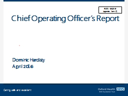 Chief Operating Officer's Report
