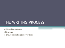 THE WRITING PROCESS writing is a process
