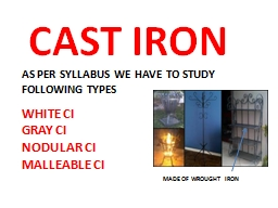 CAST IRON AS PER SYLLABUS WE HAVE TO STUDY FOLLOWING TYPES