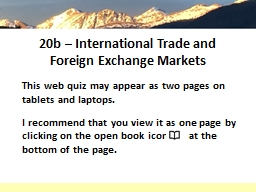 20b  –  International Trade and Foreign Exchange Markets