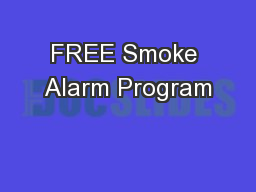 FREE Smoke Alarm Program