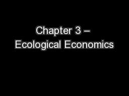 Chapter 3 – Ecological Economics