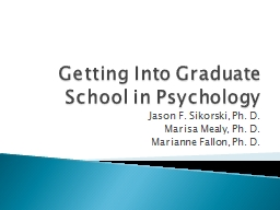 Getting Into Graduate School in Psychology