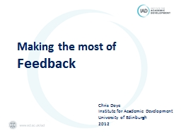 Making the most of Feedback