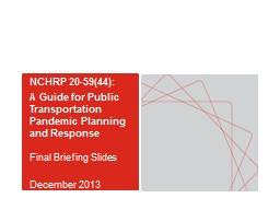NCHRP 20-59(44): A Guide for Public Transportation Pandemic Planning and Response