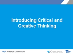 Introducing Critical and Creative Thinking