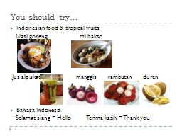 You should try… Indonesian food PowerPoint PPT Presentation