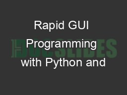 Rapid GUI Programming with Python and