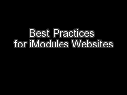 Best Practices for iModules Websites