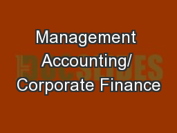 Management Accounting/ Corporate Finance