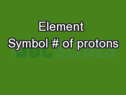 Element Symbol # of protons
