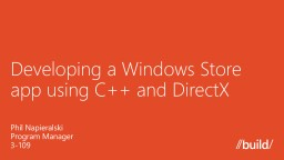 Developing a Windows Store app using C   and DirectX