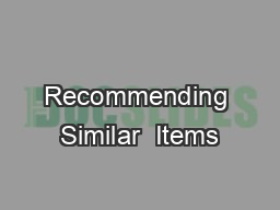 Recommending Similar  Items