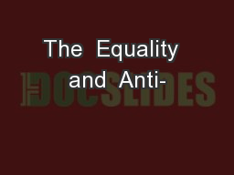 The  Equality  and  Anti-
