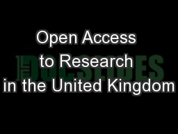Open Access to Research in the United Kingdom