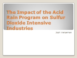 The Impact of the Acid Rain Program on Sulfur Dioxide Intensive Industries