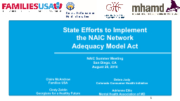 State Efforts to Implement the NAIC Network Adequacy Model Act