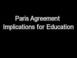 Paris Agreement Implications for Education